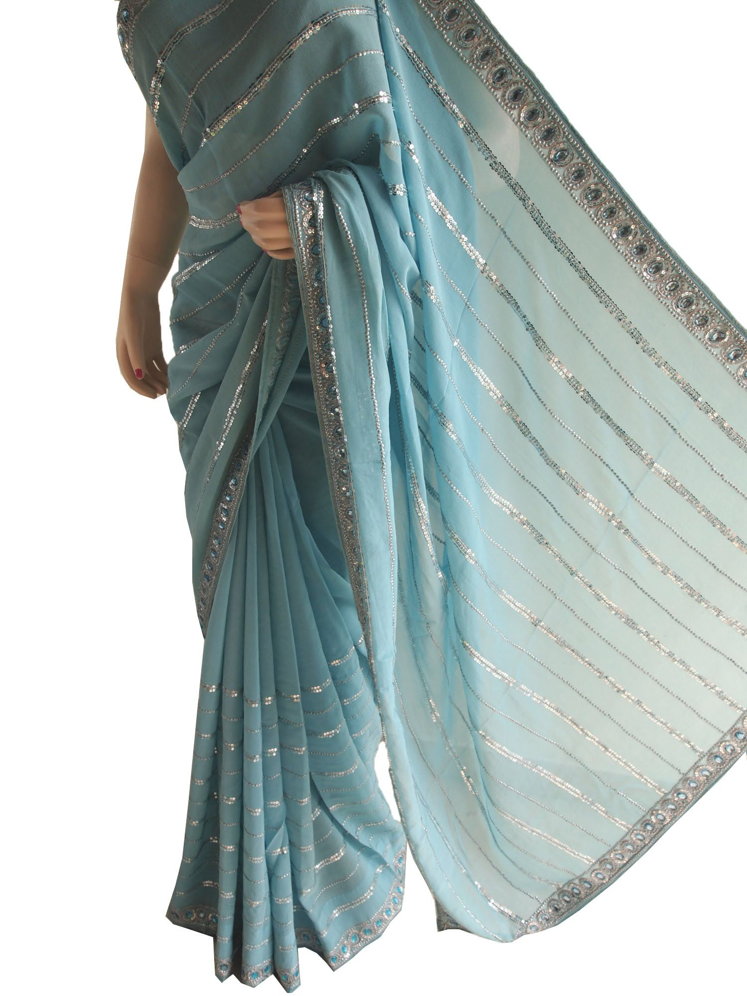 Light Blue Pure Georgette Saree With Sequins Work Saris