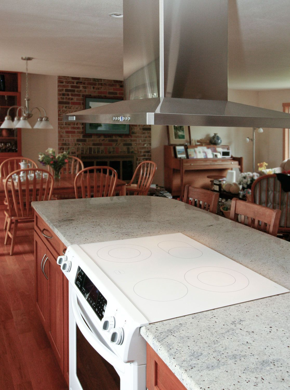 Residential kitchen remodel before and after split opened