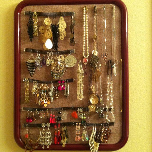 My jewelry organization on bulletin board