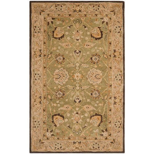 Anatolia Sage And Beige Rectangle 9 Ft In X 12 Ft In Area Rug In Rectangular Wool Area Rugs Area Rugs Traditional Area Rugs