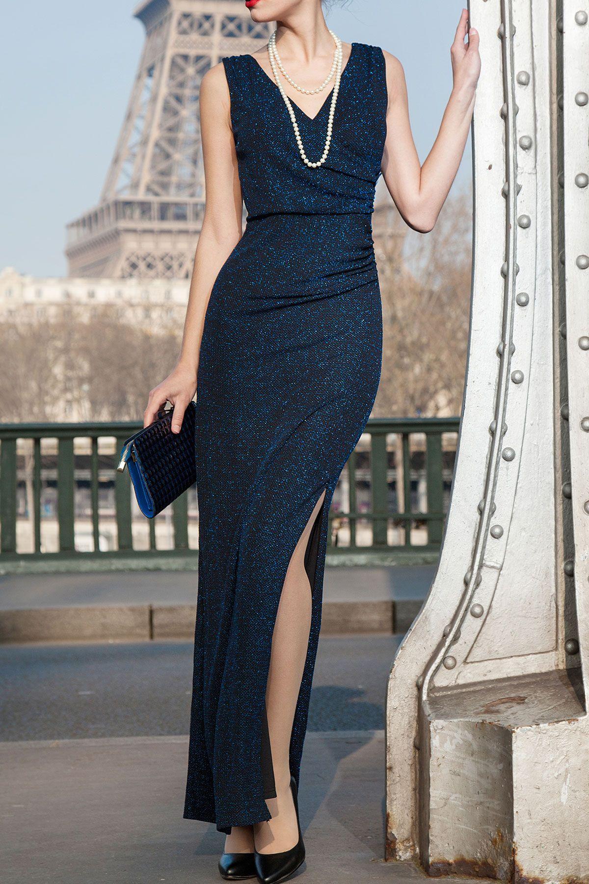 High slit maxi evening dress blue dresses fancy and clothes