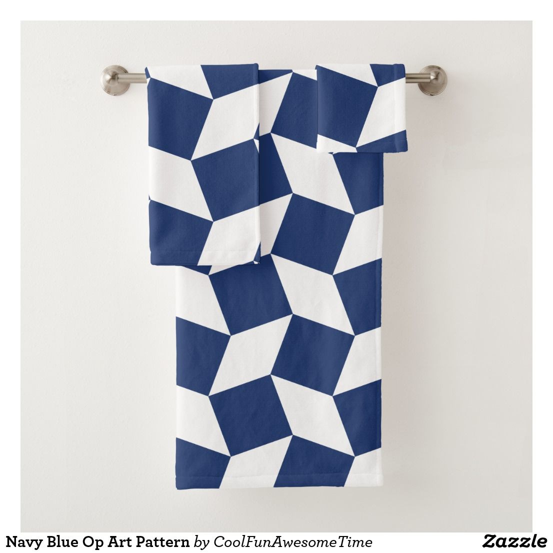 Navy Blue Op Art Pattern Bath Towels Follow The Link To Check