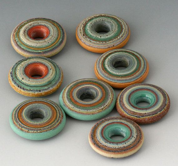 Rustic Sunrise Pass Discs - (8) Handmade Lampwork Beads - Aloe, Red Tile - Etched, Matte, Tumbled