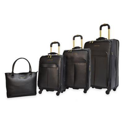 Adrienne Vittadini 4 Piece Faux Hide Luggage Set In Black
