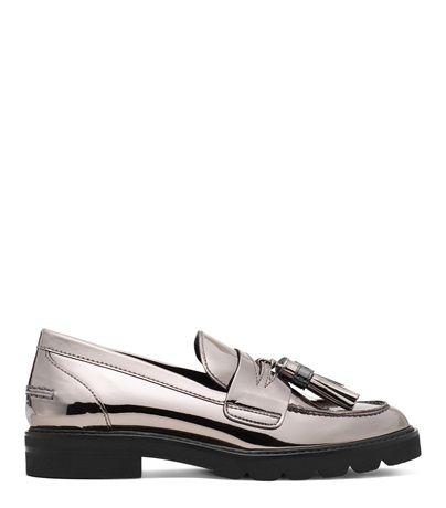 MANILA Flats in Irony Gray Specchio Leather