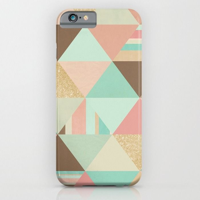 Peach, Mint and Gold Triangles iPhone & iPod Case