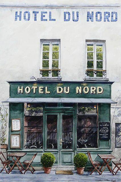 Thierry Duval Paris Hotel Du Nord 2008 Aquarelle Cafe De