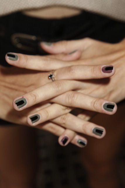 Veda Spring 2013 - The nails were inspired by the tie-dye in the collections, and have a holographic space-age effect