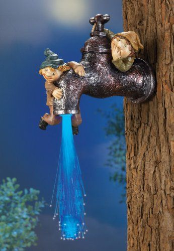 Solar Lighted Gnomes With Fiber Optic Tree Faucet