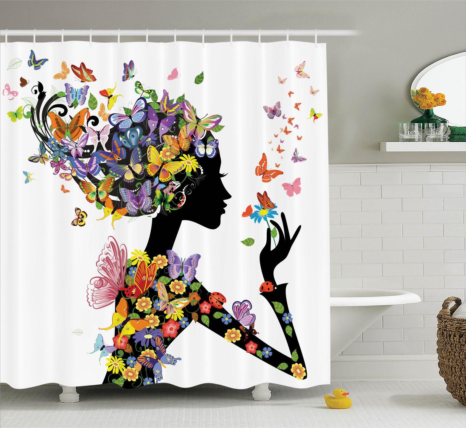 Butterflies Decoration Shower Curtain Set, Girl Fashion Flowers