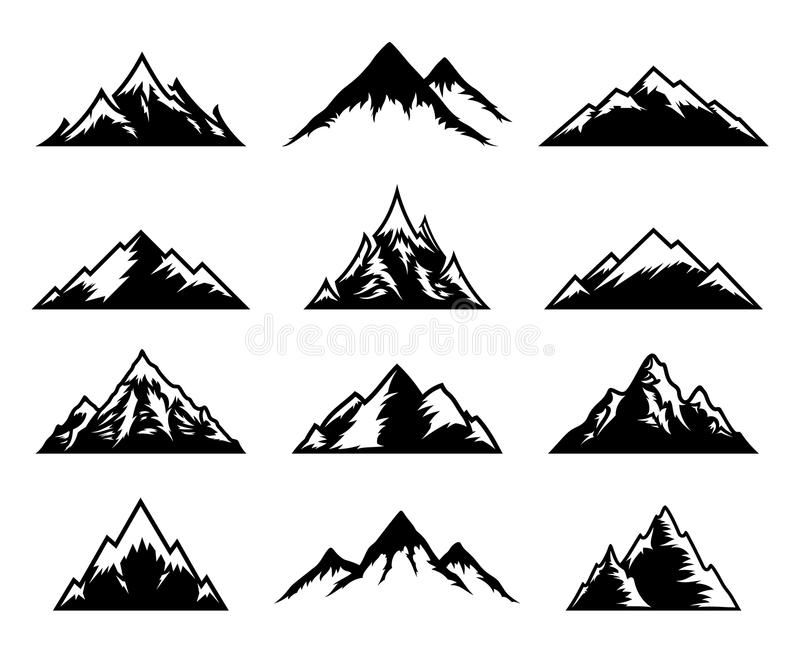 Vector Mountains Icons on White. Tourism, hiking and camping icons. Mountains an ,