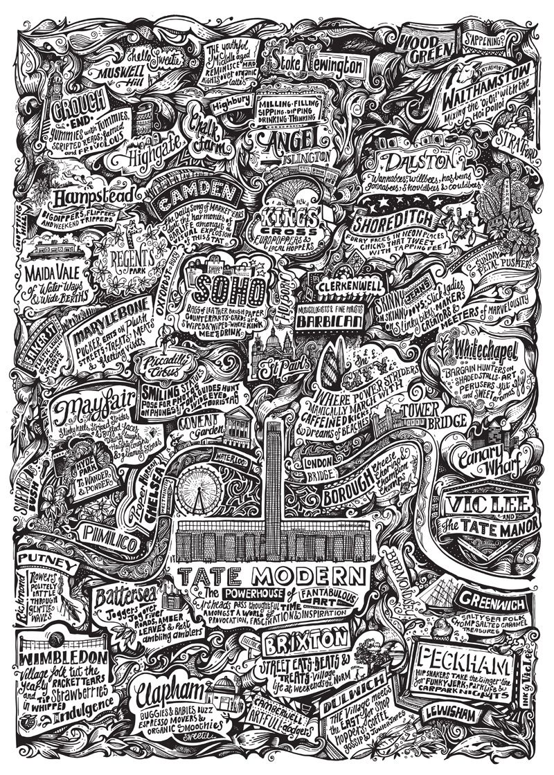 Vic Lee Has Created An Incredible Intricate Map Of London Which Features The Tate Modern In The Centre Available To B London Poster Illustrated Map London Map
