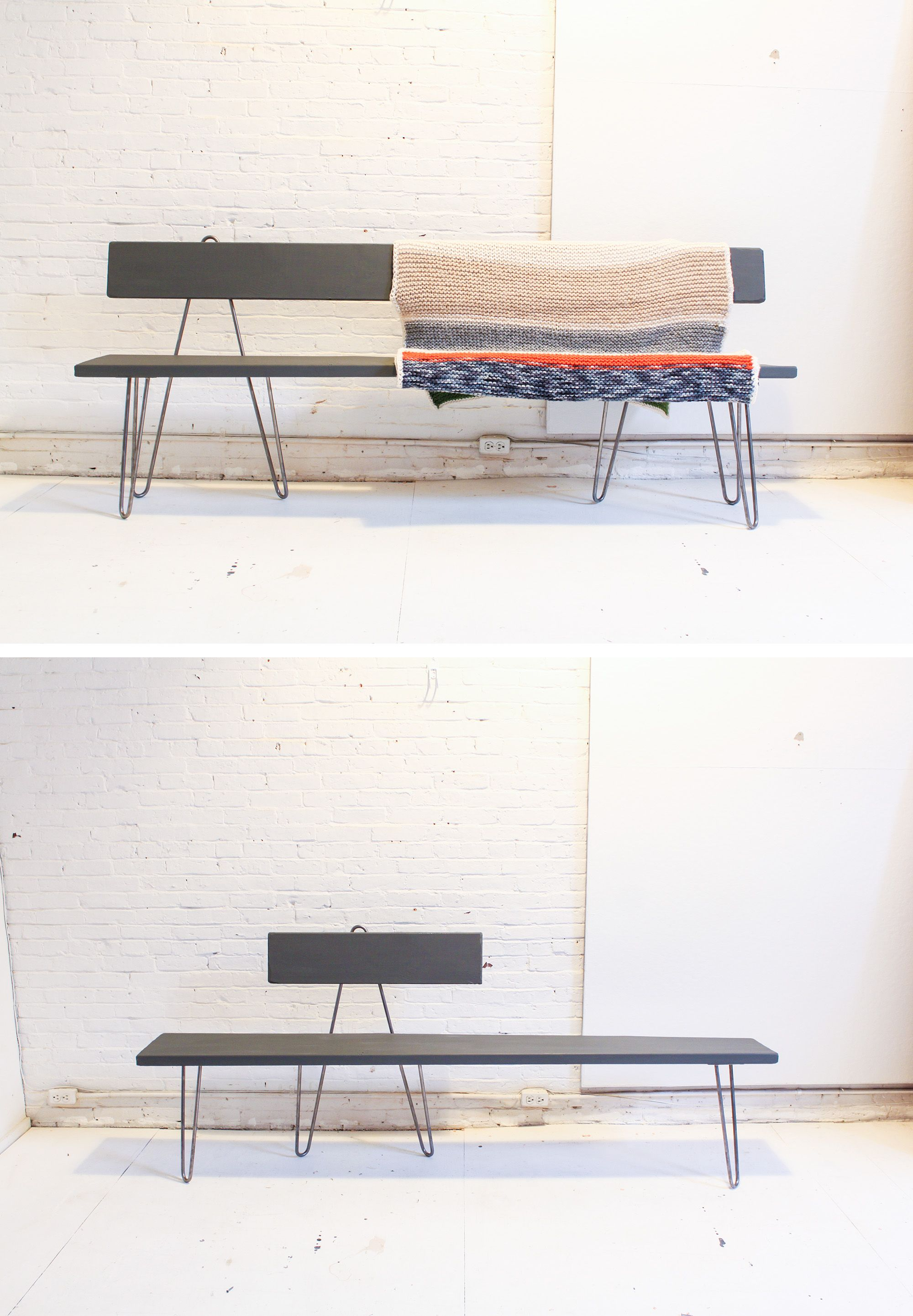 This hairpin bench is a nice alternative to the iron pipe bench weu0027ve made & This hairpin bench is a nice alternative to the iron pipe bench we ...