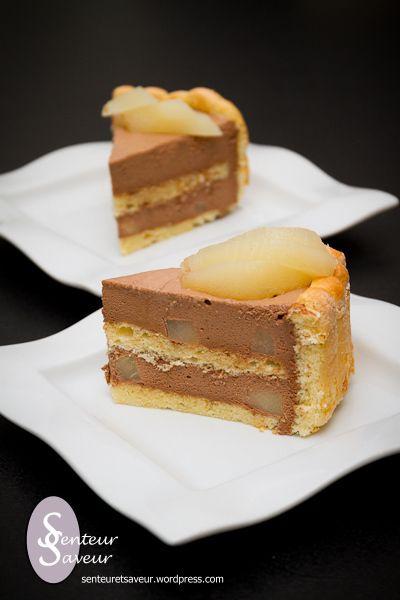 charlotte poire chocolat 100% maison (recette du cap pâtissier
