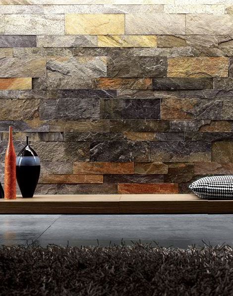 Amazing Interior Stone Veneer Small Garden Waterfall Stone Wall Black  Cushions Combined With Concrete Tile Flooring Ideas