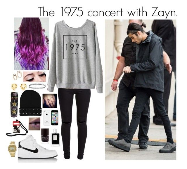"""""""The 1975 concert with Zayn."""" by miriam-xxiv-vii-mm ❤ liked on Polyvore featuring New Look, Topshop, Maybelline, MANGO, NIKE, Kilian, Elsa Peretti, Nails Inc., Rockstar Sushi and Casio"""