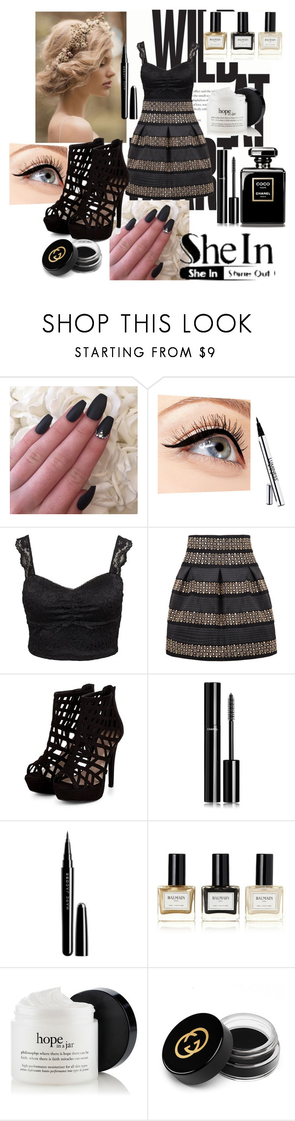 """Bez naslova #137"" by amilasahbazovic ❤ liked on Polyvore featuring moda, Luminess Air, Oneness, Chanel, Marc Jacobs, Balmain y Gucci"