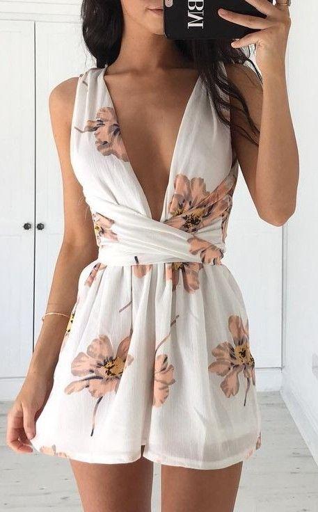 55726a8ec40  summer  flirty  outfitideas Floral Playsuit. trending and flirty summer  outfit idea 2017 Summer Outfits ...