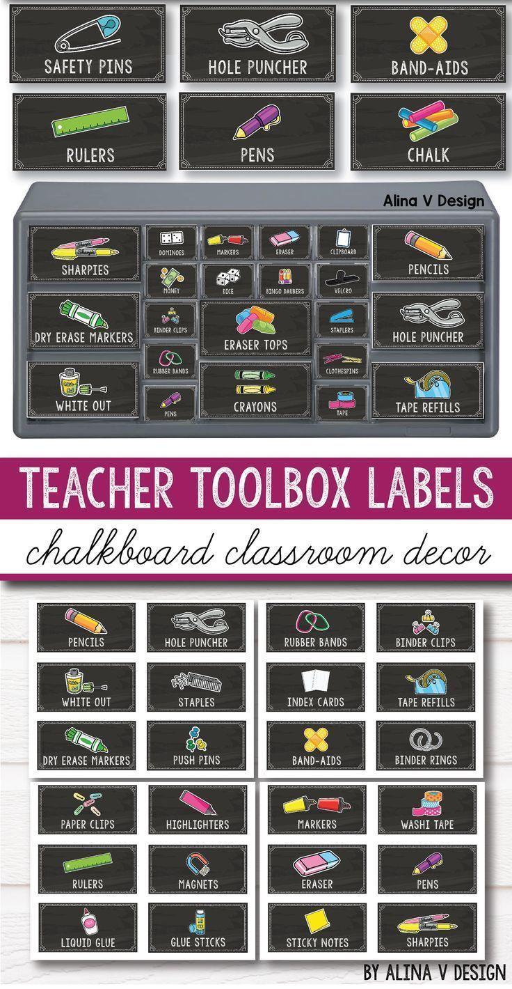 Teacher Toolbox Labels Editable - Chalkboard Classroom Decor -  Teacher Toolbox Labels Editable –