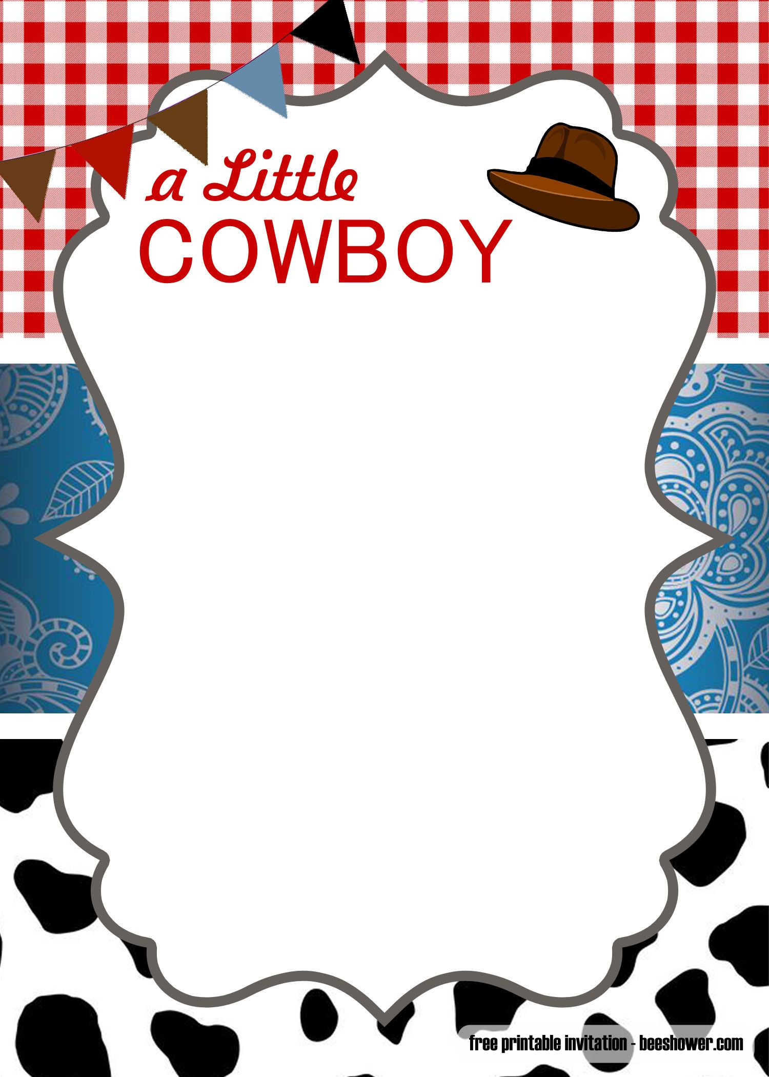 FREE Cowboy Baby Shower Invitation Templates in 2020 ...