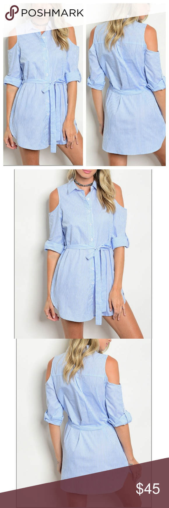 6f329679235 Cold Shoulder Shirt Dress Blue and white striped 3 4 tab sleeve cold  shoulder poplin shirt dress. Cotton blend. True to size. Please refer to  generic chart ...