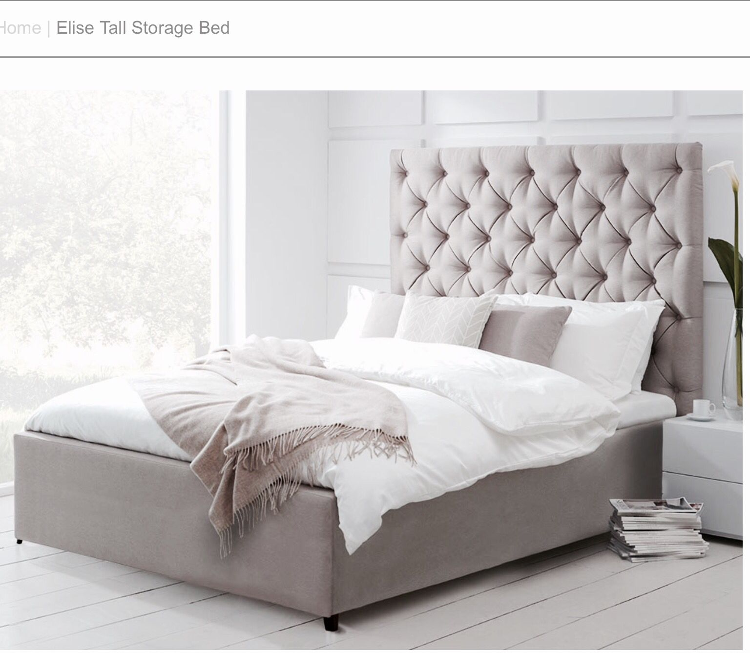 Elise Tall Storage Bed - Living it up Upholstered in Platinum grey ...