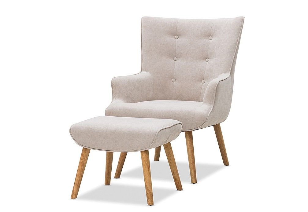 Traby Fabric Accent Chair With Foot Stool Super A Mart