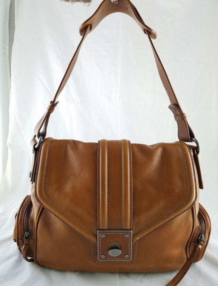 Francesco Biasia Brown Leather Saddle Bucket Satchel Shoulder Bag Purse Handbag Francescobiasia Satchelbucketbag