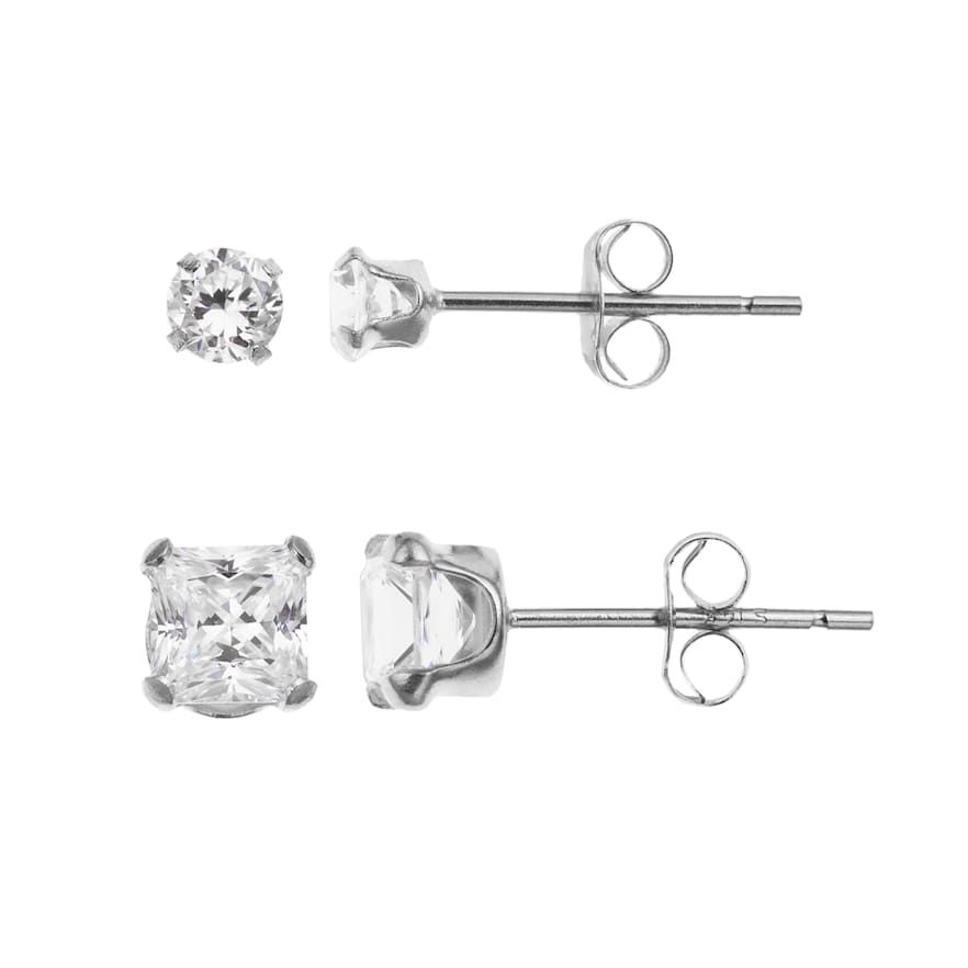 10k White Gold Cubic Zirconia Stud Earring Set Stud Earrings Earring Set White Gold