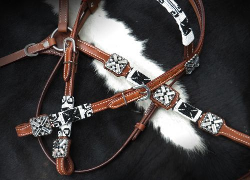 Western Set Of Headstall /& Breast Collar With Blue/&White Rawhide Braiding