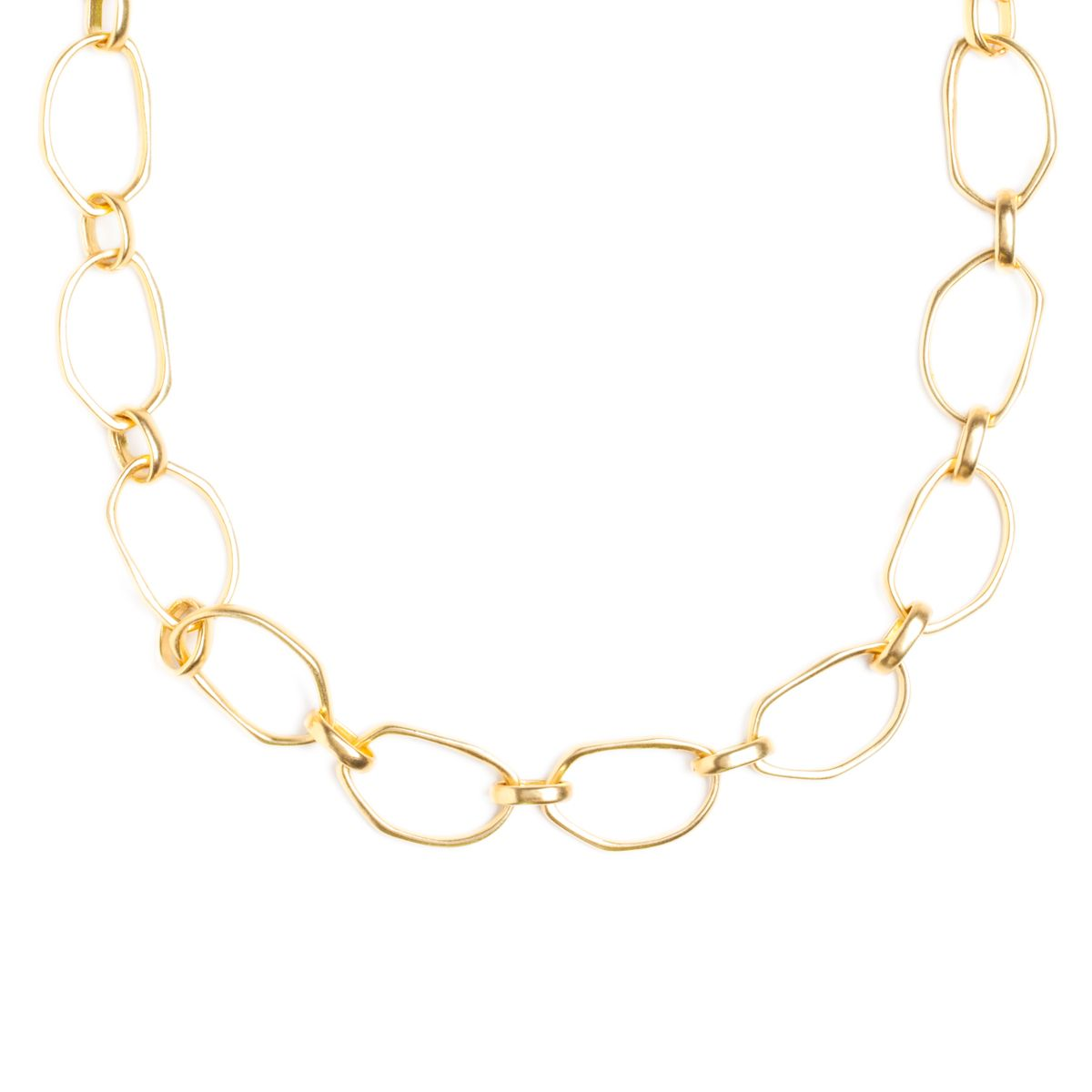 Gold link necklaces are wardrobe staples but this one is fashion