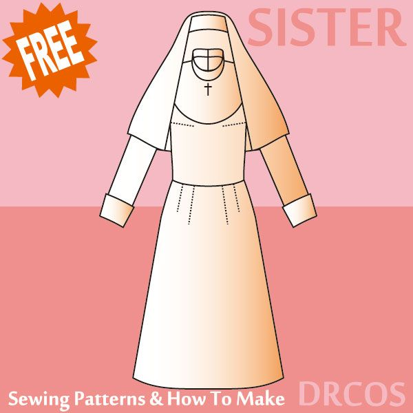 Nun Costume - Free Japanese Cosplay Sewing Pattern! You can learn to ...