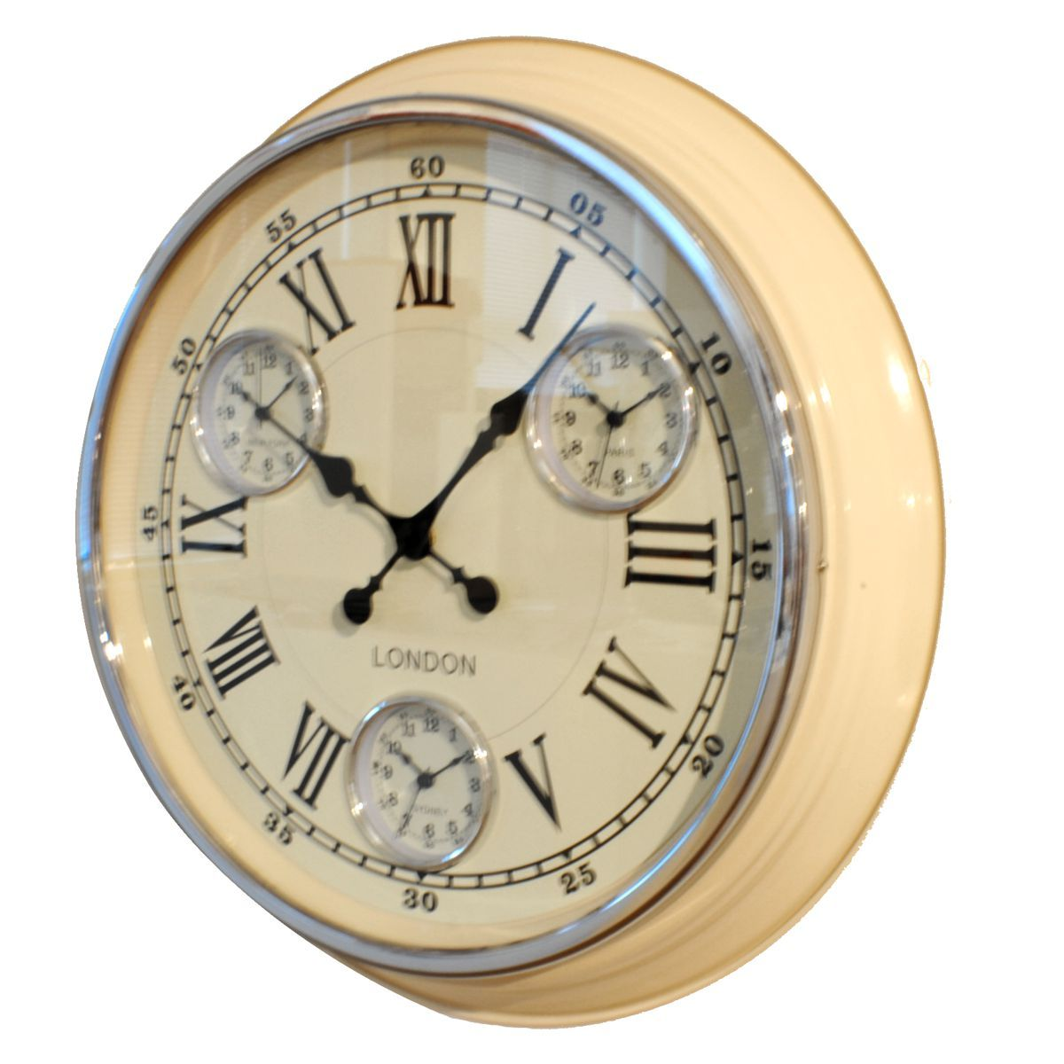 Kitchen Clocks Uk | Cream Retro Vintage Timezone Kitchen Wall Clock UK