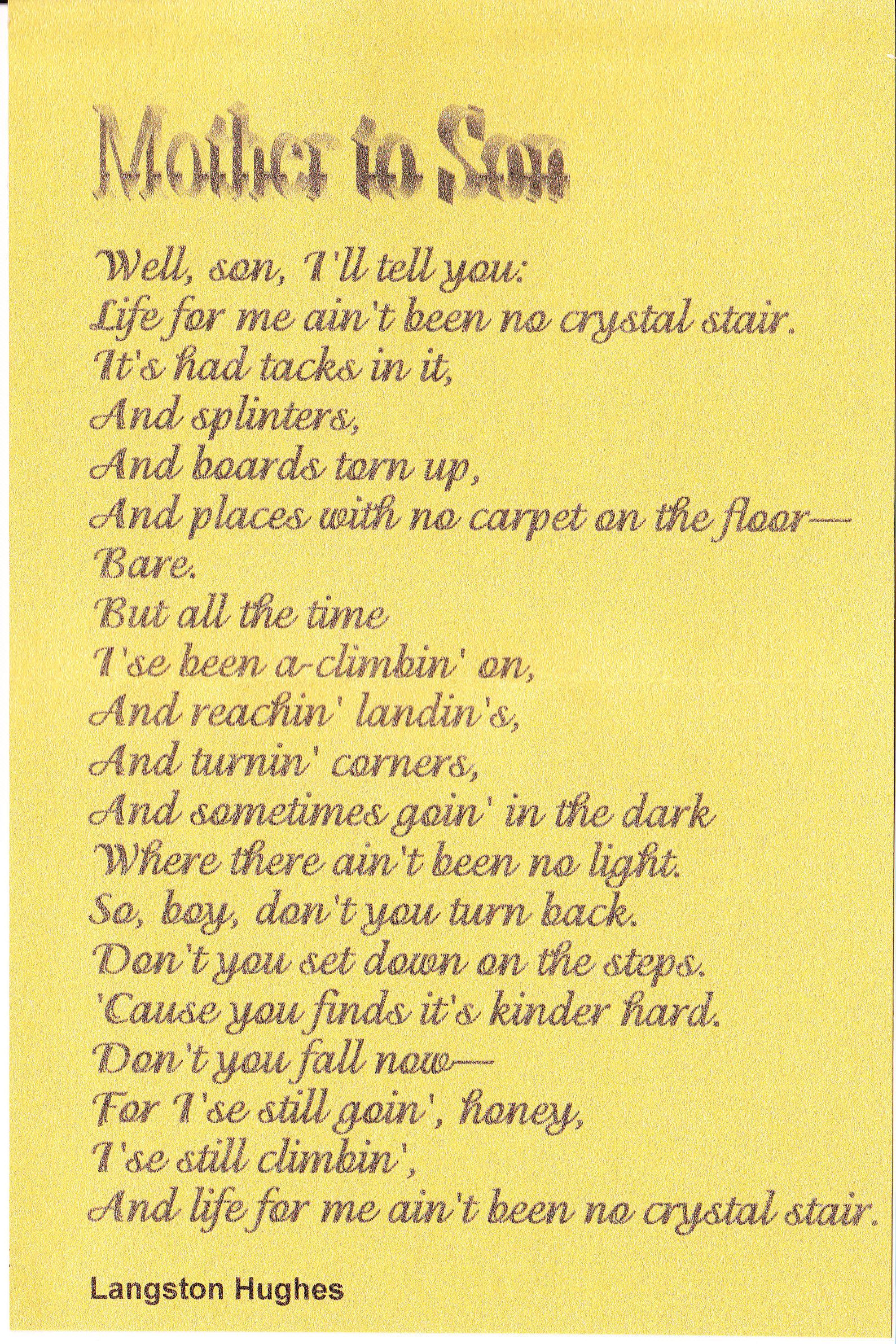 thank you mom by langston hughes