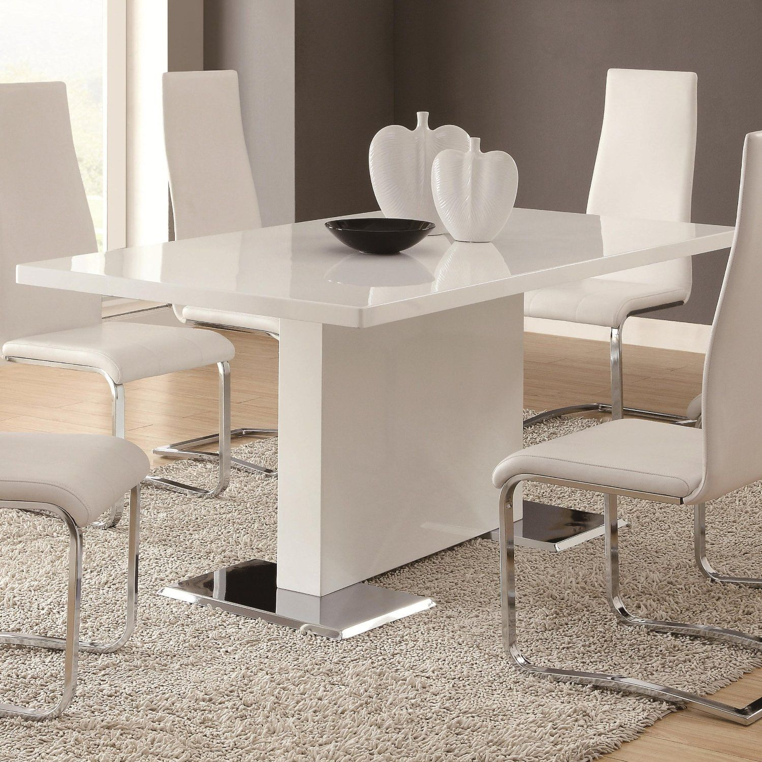 White Kitchen Tables And Chairs: Glossy White Contemporary Dining Table