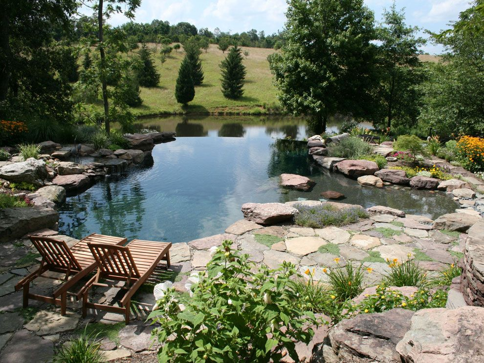 Stone patio with pond and small waterfall in frederick for Small natural pond