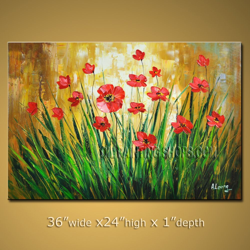 Beautiful Contemporary Wall Art Floral Painting Daisy Flower On ...
