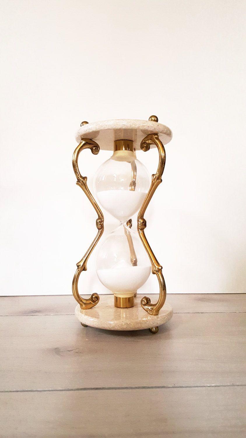 sand timer art. vintage hourglass beige marble and brass sand hour glass timer art