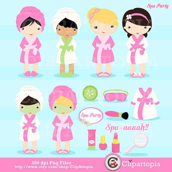 Party cute. Spa digital clipart girls