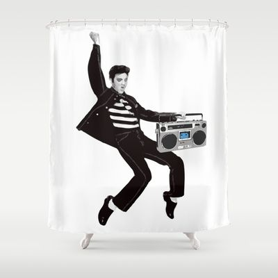 Elvis Boombox Shower Curtain By Audiovisuals 68 00 With Images