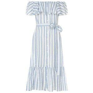 Lisa Marie Fernandez Stripe Off-The-Shoulder Maxi Dress