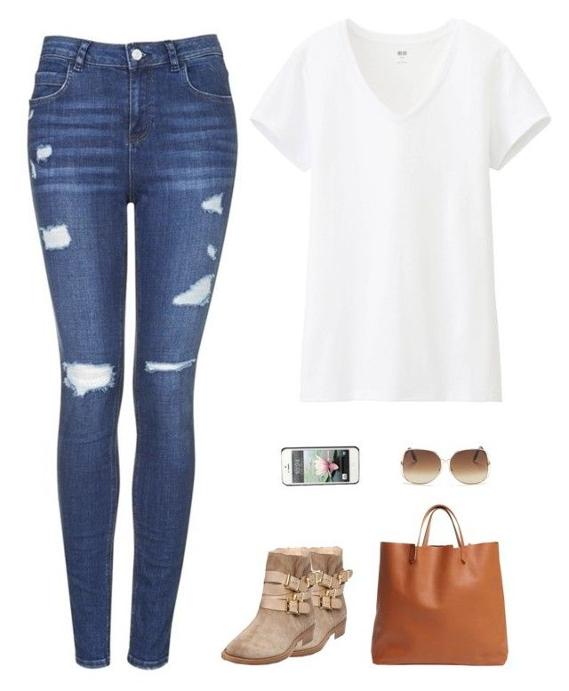 """""""You're my special thing ♥"""" by irish-eyes-were-smiling ❤ liked on Polyvore featuring Uniqlo, Topshop, Rupert Sanderson, Victoria Beckham, GiGi New York, GetTheLook and juliannehough"""