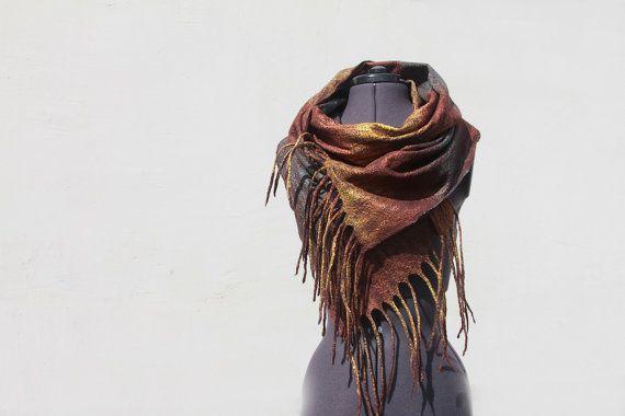 long wool felted scarf Olala milk chokolate bronze by manonknits, $129.00
