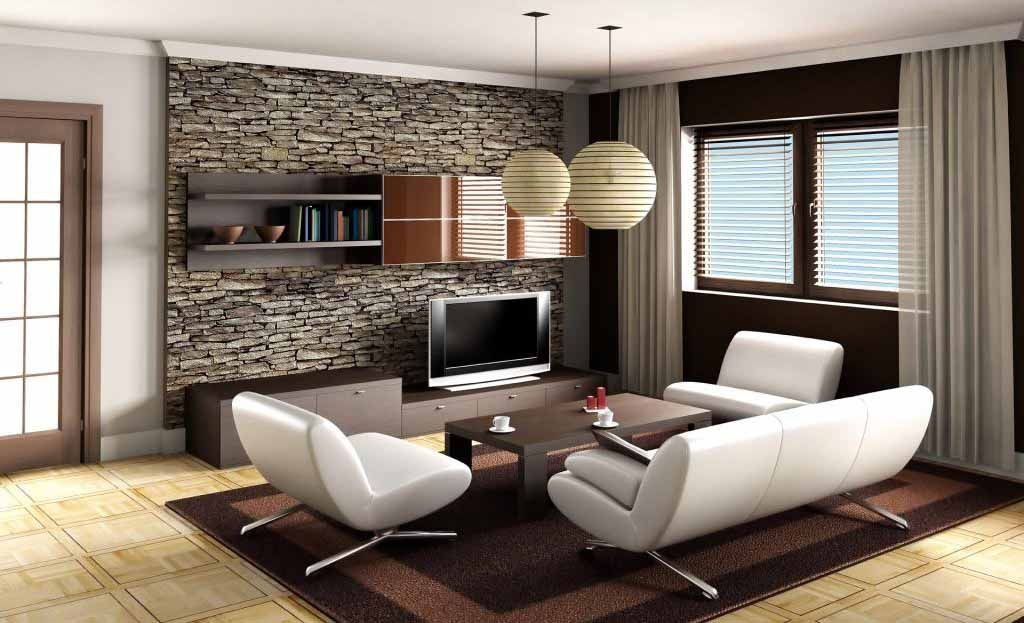 Living Room Amazing Decor Ideas With Modern Design Using White Sofa And Stone Wall Decoration Completed Wooden TV Cabinet