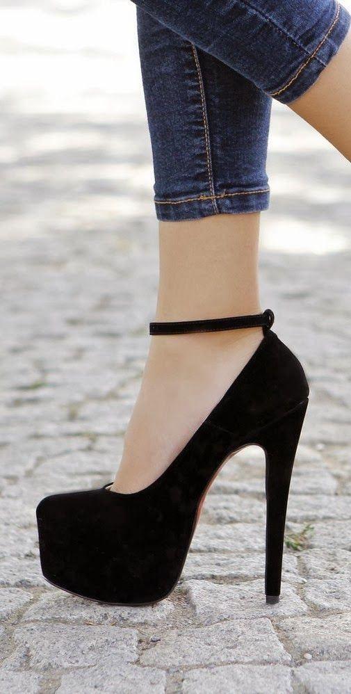 Gorgeous black high heel shoes fashion