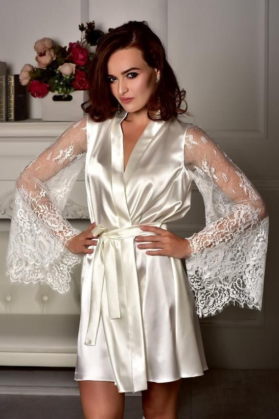 7e179134c2 Ivory robe Kimono robe Gift for daughter Bridal party robe Robe with lace  sleeves Bridal robe Satin
