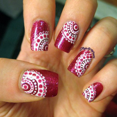 Concentrically Dotted Flightofwhimsy Maroon Polish With Pretty