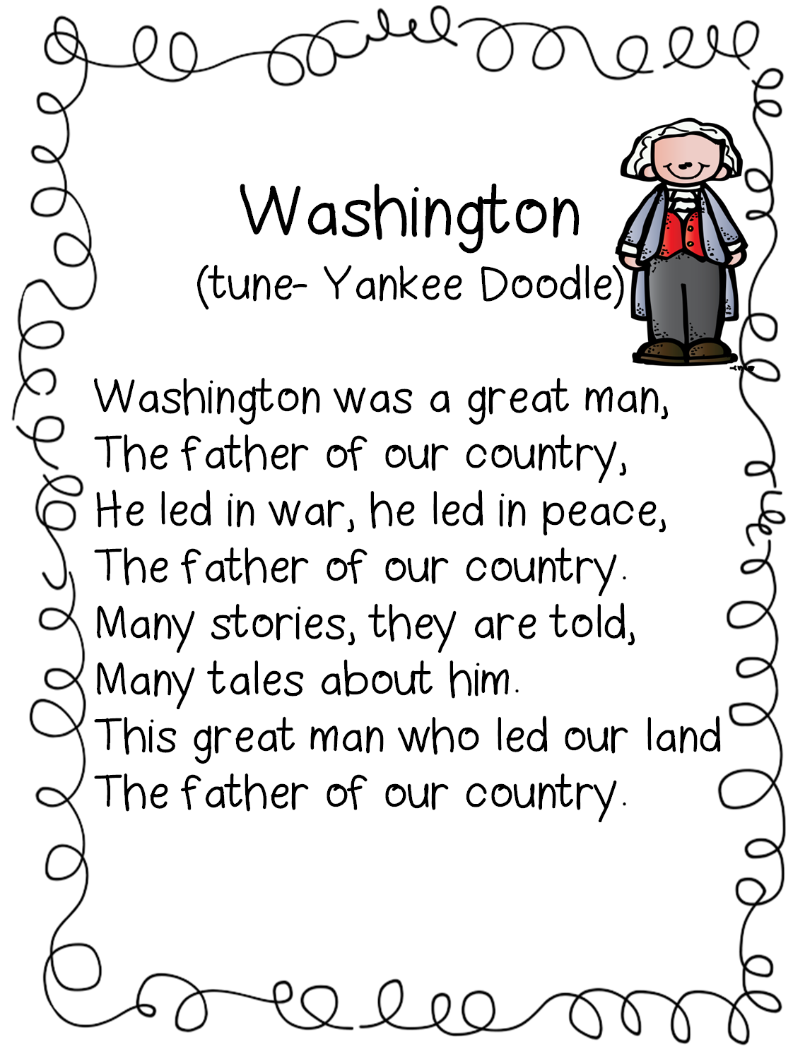 First Grade Wow Washington Poem
