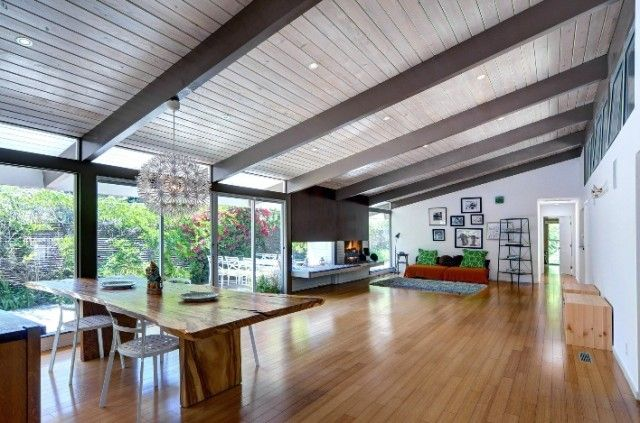 Mid century modern vaulted beamed ceilings google search Mid century modern flooring
