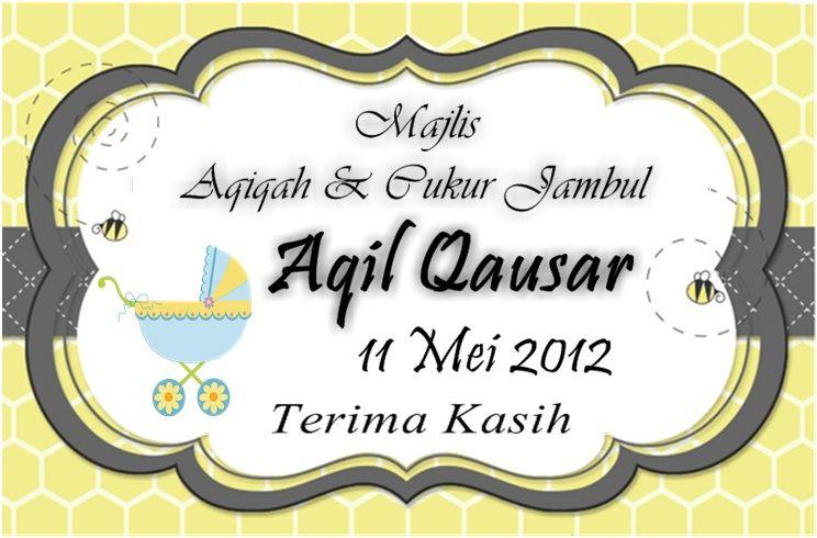 Sticker Untuk Majlis Aqiqah Jenis Materal Mirrorkote Saiz Boleh